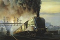 Picture smoke, the sky, train, station, rails, locomotive
