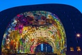 Picture lights, Netherlands, Rotterdam, night, Markthal, indoor market