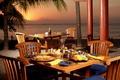 Picture the ocean, the evening, restaurant, dinner