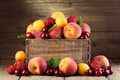 Picture fruit, cherry, box, peaches, apricots, strawberry, berry