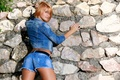 Picture girl, wall, shorts, jacket, jeans, Dina P