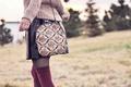 Picture girl, nature, skirt, handbag, sweater, bokeh