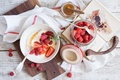 Picture food, Breakfast with berries, honey and cheese