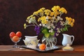 Picture flowers, sugar bowl, still life, apricots, tray
