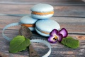 Picture viola, tape, macaroon, flower, cakes