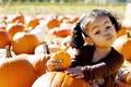 Picture girl, cool, child, pumpkin, face, pumpkin, grimace, the fruit