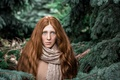 Picture the red-haired girl, Christmas trees, fright, needles, forest, Nimfa