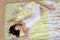 Picture girl, toy, sleep, bed