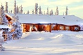 Picture house, winter, snow, the sky, nature, trees, forest
