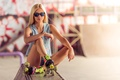 Picture girl, pose, background, mood, shorts, figure, videos, glasses, hairstyle, blonde, bokeh, dzhinsovka