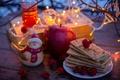 Picture garland, books, tea, red, cookies, berries, lights, Apple, yellow, figurine