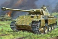 Picture fire, flame, war, attack, figure, art, tanks, infantry, WW2, German, PzKpfw V «Panther»