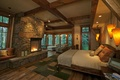 Picture design, interior, rustic, fireplace, bedroom