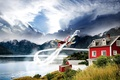 Picture mountains, nature, lake, house, the plane, peak