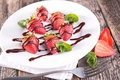 Picture berries, chocolate, strawberry, plate, red, fresh, dessert, sweet, strawberry, berries