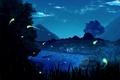 Picture stars, clouds, trees, mountains, night, nature, lake, anime, team, Naruto, friends, Sakura Haruno, Uchiha Sasuke, ...