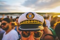 Picture hat, boat, reflection, people, lake, male, mirror, glasses, party, sunset