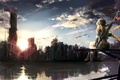 Picture flower, the sky, girl, clouds, sunset, the city, weapons, home, rainbow, anime, scarf, art, ruins, ...