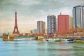 Picture canvas, bridge, Hay, France, Paris, home, the statue of Liberty, tower, the sky, river