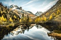 Picture lake, mirror, reflection, mountains, the sky, trees, clouds