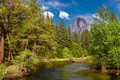 Picture the sky, clouds, trees, mountains, river