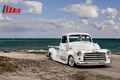 Picture retro, shore, the front, clouds, tuning, C152, Lowrider, 1941, white, Pickup, GMS, Lowrider, pickup, beach, ...