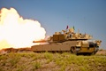 Picture grass, flame, earth, smoke, shot, tank, combat, American, shooting, main, M1A2(SEP)