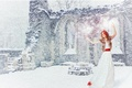 Picture winter, white, girl, snow, joy, red, mood, holiday, new year, dance, dress