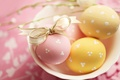 Picture holiday, eggs, yellow, plate, Easter, tape, pink, bow, Easter, Easter