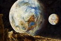 Picture rocks, mountains, Sci Fi, many colors, planets