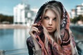 Picture blonde, look, shawl, girl, Lods Franck