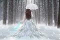 Picture Forest, Snow, Girl, Umbrella