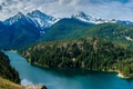 Picture mountains, trees, Diablo Lake, lake, clouds, the sky, forest, USA