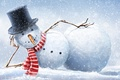 Picture winter, snow, snowflakes, hat, scarf, snowman