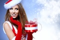 Picture girl, snowflakes, red, box, gift, hat, New Year, Christmas, costume, gloves, maiden, brown hair, cap, ...