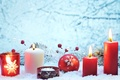 Picture snow, decoration, red, lights, lights, cherry, balls, candles, New year, red, new year, balls, snow, ...