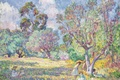 Picture picture, genre, paint, Children in the meadow, Henri Lebacq, trees