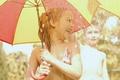 Picture girl, fun, umbrella, child, children, rain, baby, joy, boy