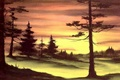 Picture picture, nature, trees, painting, Bob Ross, Bob Ross, the sun, forest, sunset