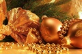 Picture decoration, new year, beads, spruce, toys, gold