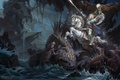 Picture monsters, weapons, horse, art, warrior, rider, sea, rocks