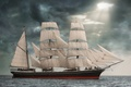 Picture sea, Star Of India, clouds, sails, sailboat, bark, Star of India