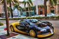 Picture Yellow, Black, Street, supercar, Veyron, Bugatti