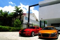 Picture trees, reflection, home, orange, white, audi r8, lamborghini, red, aventador lp700-4, Shelby гт500, Lamborghini aventador, ...