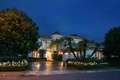 Picture flowers, palm trees, the sidewalk, trees, the bushes, mansion, lights, street, USA, house, night, CA, ...