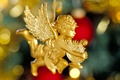 Picture harp, holiday, figure, angel, gold, new year, new year, wings, gold plated