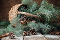 Picture branches, basket, tree, New Year, Christmas, bumps