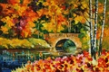 Picture bridge, trees, painting, leaves, river, water, Leonid Afremov, autumn