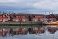 Picture tourism, Svolvaer, Norway, Lofoten islands, boat, fishing shack