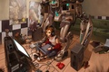 Picture room, toys, robot, headphones, speakers, monitor, draws, mess, digitizer, gamepad
